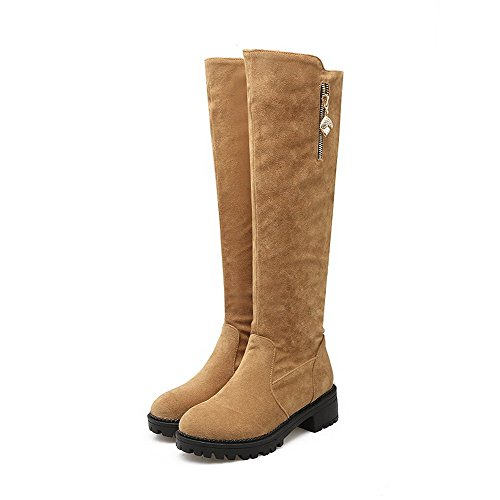 Top Yellow Allhqfashion High Frosted Women's Heels Boots Solid Kitten Zipper SxvgTXwq