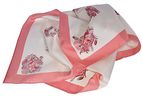 Gucci Women's 394545 GG Floral Print Silk Twill Neck Scarf (White/Pink) by Gucci