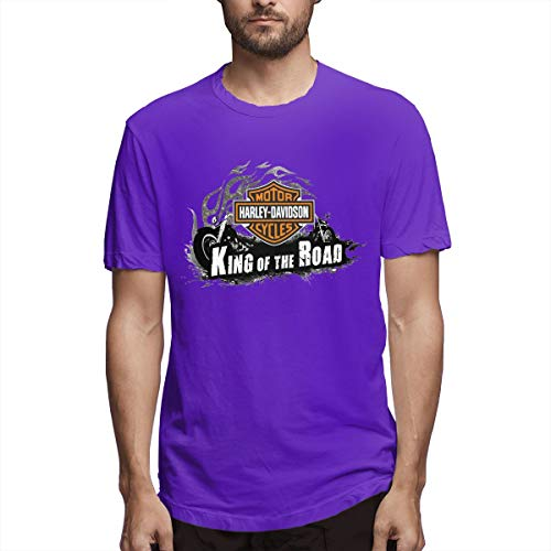 (BAIXRU Fashion Harley Davidson Motor Cycles T Shirt for Mens Purple 36)