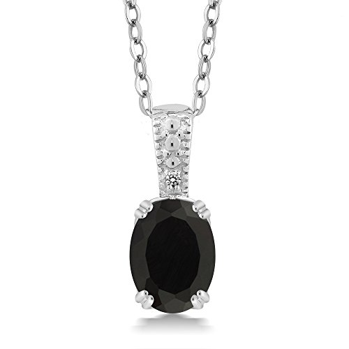 Gem Stone King Black Onyx & White Diamond 925 Sterling Silver Pendant (1.26 cttw, with 18inches Chain)