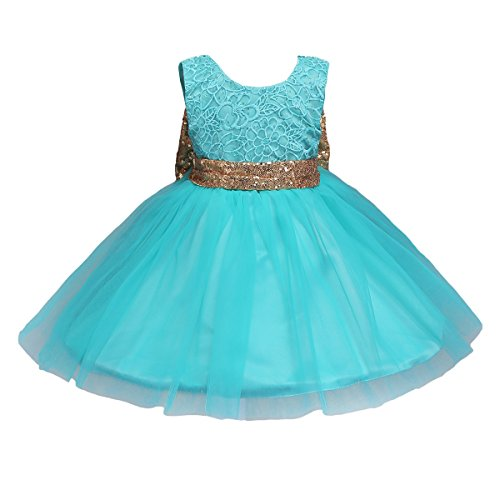 JiaDuo Baby Girl Lace Mesh Tutu Dress Sequin Bow Toddler Princess Gown ,Soft Mint,12-18 Months (80)