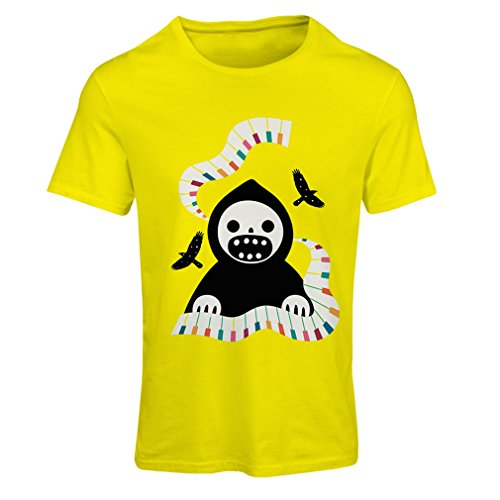 T Shirts For Women Halloween Horror Nights - The Death Is Playing On Piano - Cool Scarry Design (Small Yellow Multi Color) (Halloween Fright Nights Logo)