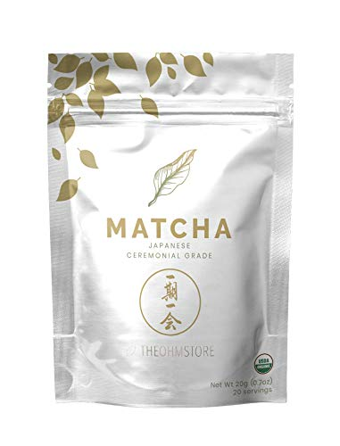 100% Organic Ceremonial Matcha Green Tea Powder by The Ohm Store - USDA Certified Organic Blend, Premium Ceremonial Grade, Pure Japanese Matcha Tea, Unsweetened and Vegan - 20g, 20 Servings