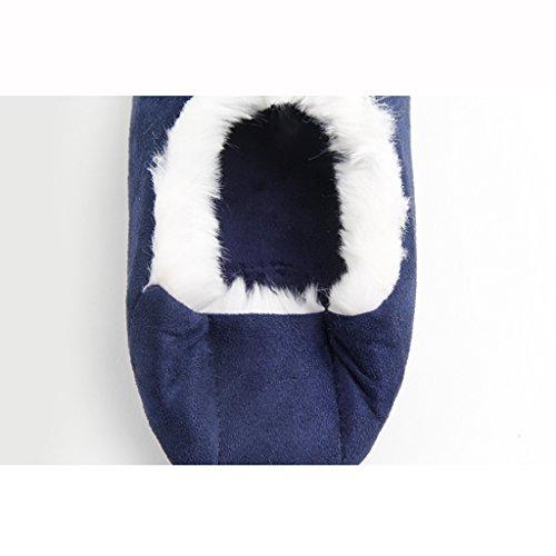 Hausschuhe Winter Baumwolle Handtaschen mit Wildleder Warm und Bequem zu Hause Indoor Leise Schuhe Blau