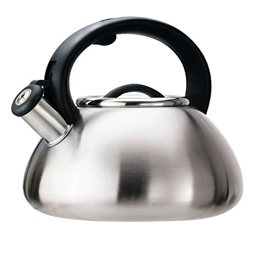 Primula Avalon Whistling Kettle - Whistling Spout, Locking Spout Cover, and Stay-Cool Handle - Stainless Steel - 2.5 Quarts – Brushed Stainless Steel