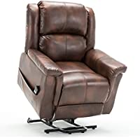 ComHoma Power Lift Recliner Chair Electric Lounge Living Room Sofa Luxurious Bonded Leather Easy Care for Elderly with Remot(BROWN)