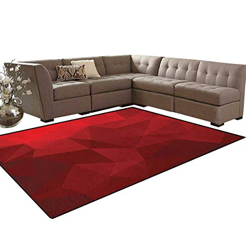 Red,Carpet,Triangular Mosaic in Shades of Red with Low Poly Effect Geometric and Abstract,Indoor/Outdoor Area Rug,Ruby Red Scarlet Size:5