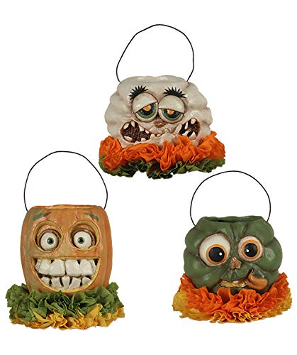 Bethany Lowe Halloween Monster Mash Pumpkin Buckets Set of 3 So Cute New