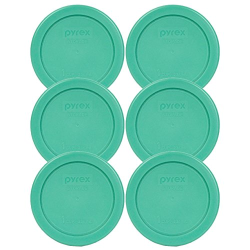 Pyrex 7202-PC 1 Cup Green Round Plastic Replacement Lid - 6 Pack (Pyrex Small Containers With Lids)