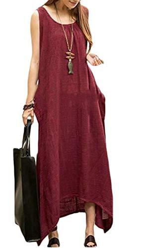 Ainr Femmes Sans Manches De La Mode Robe De Réservoir Maxi Longue Irrégulier Avec Des Poches Vin Rouge