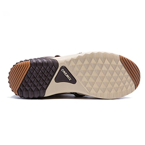 Onemix Nuovo Arrivo Uomini E Donne Foderato In Pelliccia Invernale Stivali Da Neve Ankle-high Sneakers Sportive Darkbrown