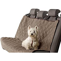 Petego Animal Basics Velvet Car Seat Cover This Soft and Stylish Dog Car Seat Cover Will Keep Your Car or SUV Clean - Make Traveling with your Pet Easy Stone/Espresso Rear Seat Dog Hammock