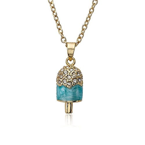 Molly Glitz Sparkle Sweet 14k Gold-Plated Crystal Dripping Marbleized Light Blue Enamel Popsicle Pendant Necklace (Crystal Mlb Necklace)