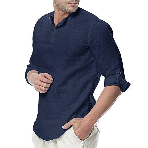 Mens Linen Henley Shirt Casual 3/4 Sleeve T Shirt Pullover Tees Lightweight Curved Hem Cotton Summer Beach Tops ()