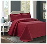 3 Piece MIKANOS Ultrasonic Embossed Bedspread Set-Oversized Coverlet 100x106in, 118x106in (Queen, Red)