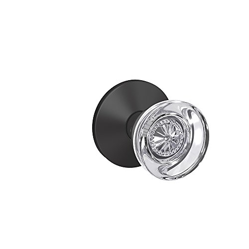 Schlage Custom FC21 HOB 622 KIN Hobson Glass Knob with Kinsler Trim Hall-Closet and Bed-Bath Lock, Matte Black