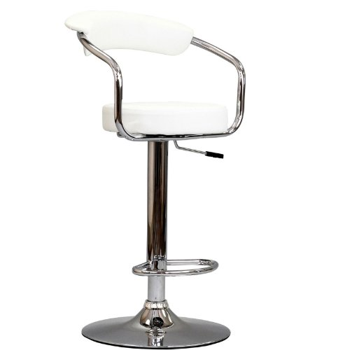 Modway Diner Retro Faux Leather Adjustable Bar Stool in White - 50s Diner Table