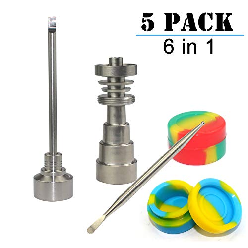 WeiMeet 5 Pieces Titanium Wax Carving Tool Wax Tool Set Silicone Jar Tool for Male and Female 10mm/14mm/18mm(6 in 1)