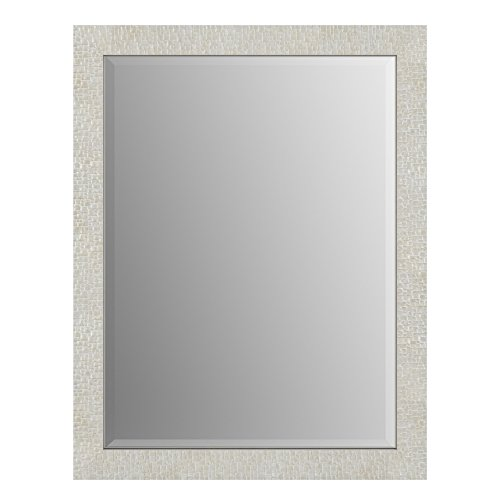 Delta Wall Mount 28 in. x 36 in. Medium (M1) Rectangular Framed Flush Mounting Bathroom Mirror in Stone Mosaic with TRUClarity Deluxe Glass