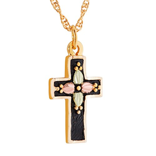 - Antique Cross Pendant Necklace, 10k Yellow Gold, 12k Green and Rose Gold Black Hills Gold Motif, 18