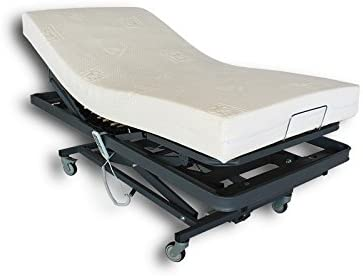 Ventadecolchones - Camas Articuladas Geriátrica de Hospital con Carro Elevador y colchon Visco 10 + 5 Medida 105 x 190 cm con Juego de barandillas