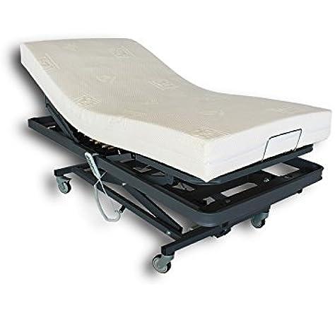 Ventadecolchones - Camas Articuladas Geriátrica de Hospital con Carro Elevador y colchon Visco 10 + 5 Medida 105 x 190 cm: Amazon.es: Hogar