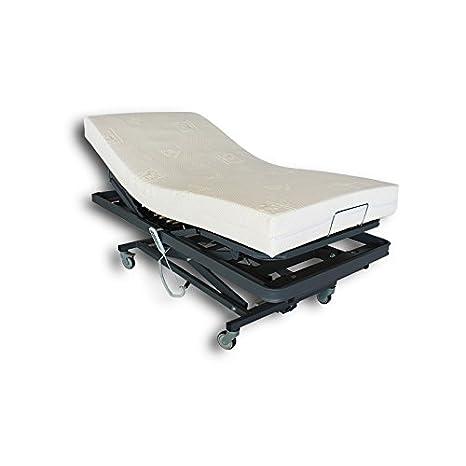 Ventadecolchones - Camas Articuladas Geriátrica de Hospital con Carro Elevador y colchon Visco 10 + 5 Medida 90 x 190 cm: Amazon.es: Hogar