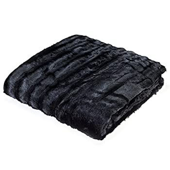 Madison Park Duke Polyester Brushed Long Fur Knitted Throw, 50 by 60-inch, Black