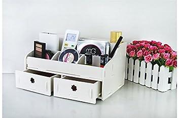 Anzer bureau en bois blanc pour organiseurs maquillage maquillage