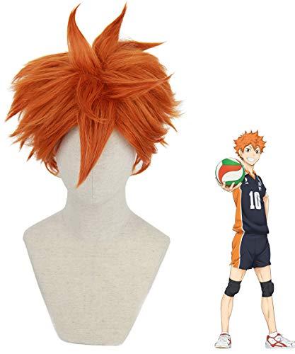 Hinata Shoyo Cosplay Wigs for Haikyuu Costume Short Orange Hair Wig Anime Harajuku Lolita Cute Synthetic Wigs for Party AD019OR