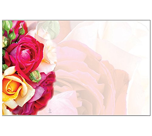 Roses Blank Enclosure Message Cards Bulk Set, Pack of 50 by John Henry Company