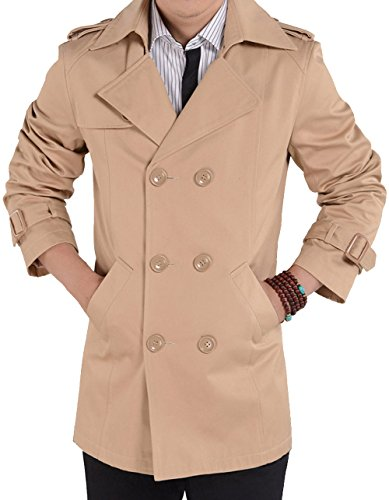 S&S Men's Classic Asymmetrical Chest Double Breasted Cotton Trench Coat Jacket