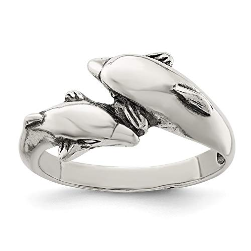- 925 Sterling Silver Dolphin Band Ring Size 6.00 Animal Fine Jewelry Gifts For Women For Her