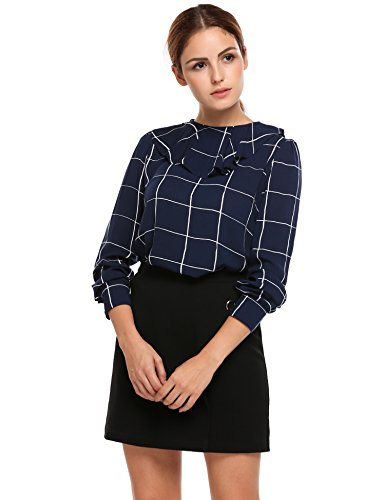 Meaneor Women's Vintage Round Ruffle Collar Plaid Casual Top Shirt, L, Blue from Meaneor