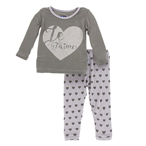 KicKee Pants Little Girls Print Long Sleeve Pajama Set, Feather Hearts, Girls 9 Years