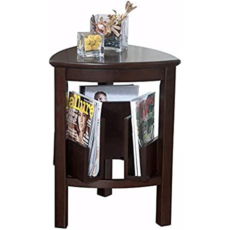 Ashley Furniture Signature Design Larimer End Table Chair Side Accent Table Triangular Dark Brown Finish