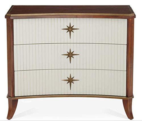 Global Views Solid Walnut Wood 3 Drawer Bow Front Star Chest | Curved MidCentury Modern White