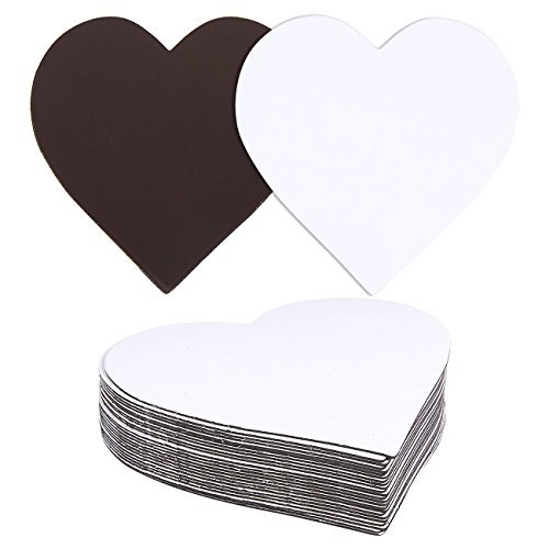 Heart Magnet - 24 Pack Magnet Labels - Heart Shape Dry Erase Labels - Rewritable Magnetic Dry Erase Labels, 2 x 2 Inches, White