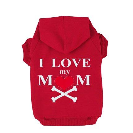 EXPAWLORER I Love My Mommy Dog Cat Fleece Sweatshirt Hoodies Costumes Red XL (Italian Greyhound Dog Sweaters compare prices)