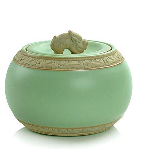 650ml Chinese Porcelain Celadon Ru Kiln Tea Caddy Tea Container Dragon Pattern