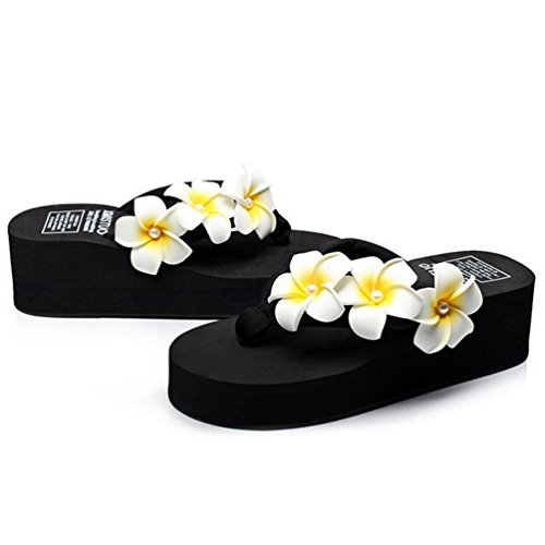 de Plage Flops Compensé Chaussures Femmes avec Tongs Noir Slippers Sandales Été Fleurs Femmes Compensées Talon Flip 7zWYqqpXH