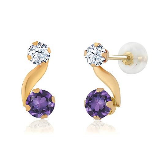 Gem Stone King 0.70 Ct Round Purple Amethyst 14K Yellow Gold Earrings