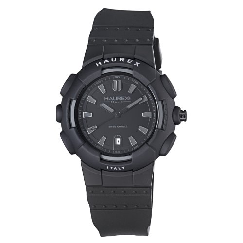 Haurex Italy Men's 2P504UJN Tremor Black Plastic Case Rubber Strap Date Watch - Haurex Black Watch