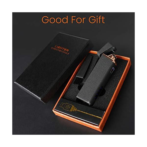 Ommani Encendedor Electrico, USB Encendedor de Doble Arco Recargable con Indicación de Batería, ARC Encendedor… 6