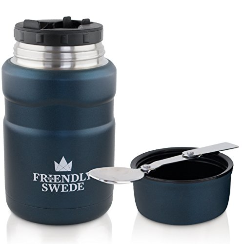 Blue Storage Jar (Food Jar Vacuum Insulated - Stainless Steel 16 oz. Food Flask With Folding Spoon, Cup and Storage for Travel, Camping and Hiking- by The Friendly Swede (Midnight Blue))
