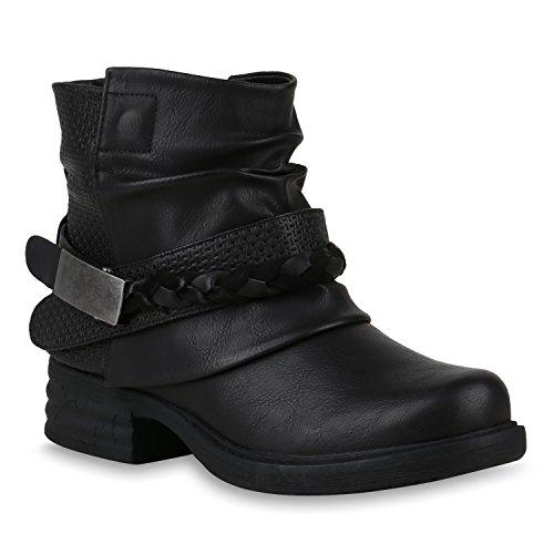 Damen Biker Boots Leicht Gef tterte Stiefel Stiefeletten Kunstfell 819689 Schuhe