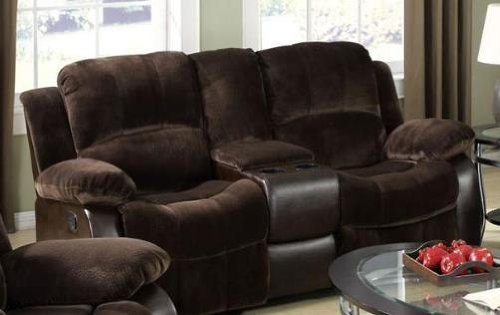 Acme Furniture Loveseat (Masaccio Brown Loveseat With Console With Cup Holder by Acme Furniture)