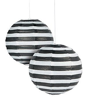 Black Striped Paper Lantern - 12