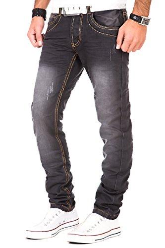 Jeans Herren Hose Denim Destroyed Vintage Clubwear Chino Kosmo Japan Style Fit Look Used Schwarz