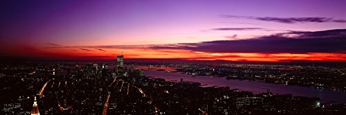 Posterazzi Panoramic view of Empire State Building World Trade Center Hudson River Manhattan NY and New Jersey Poster Print (27 x 9)